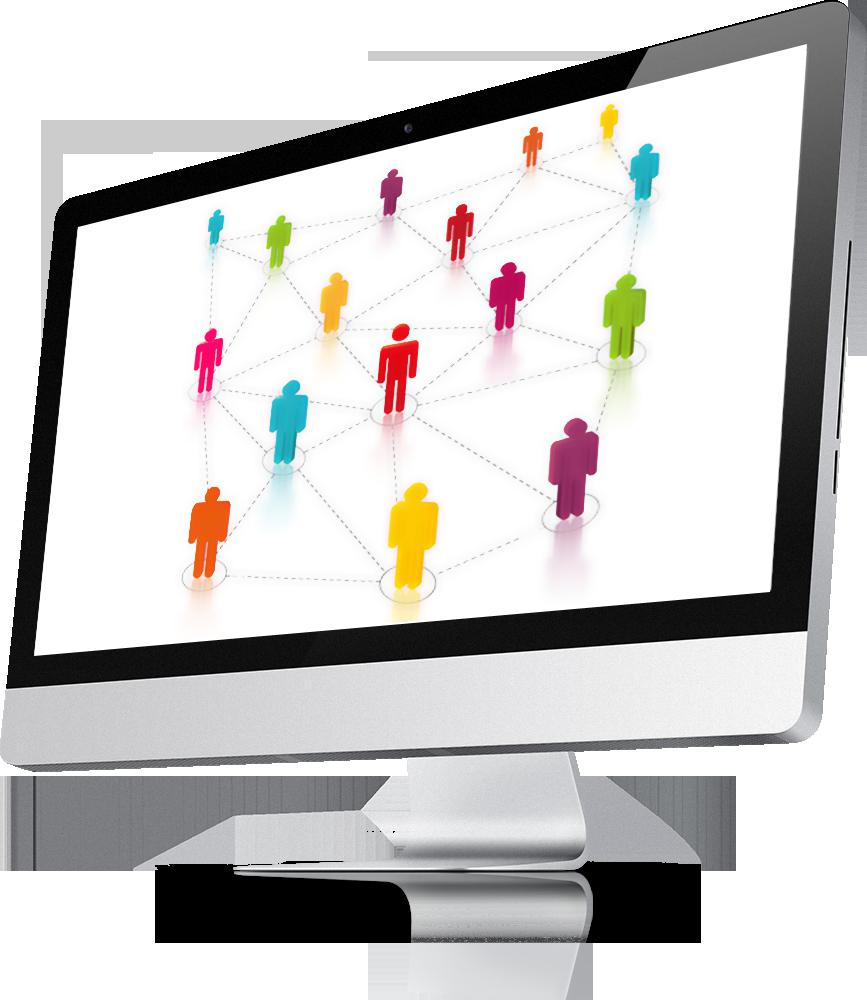 iMac zeigt eine Netzwerk Visualisierung