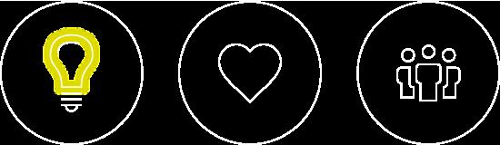 Icongruppe Glühlampe, Herz und Personen